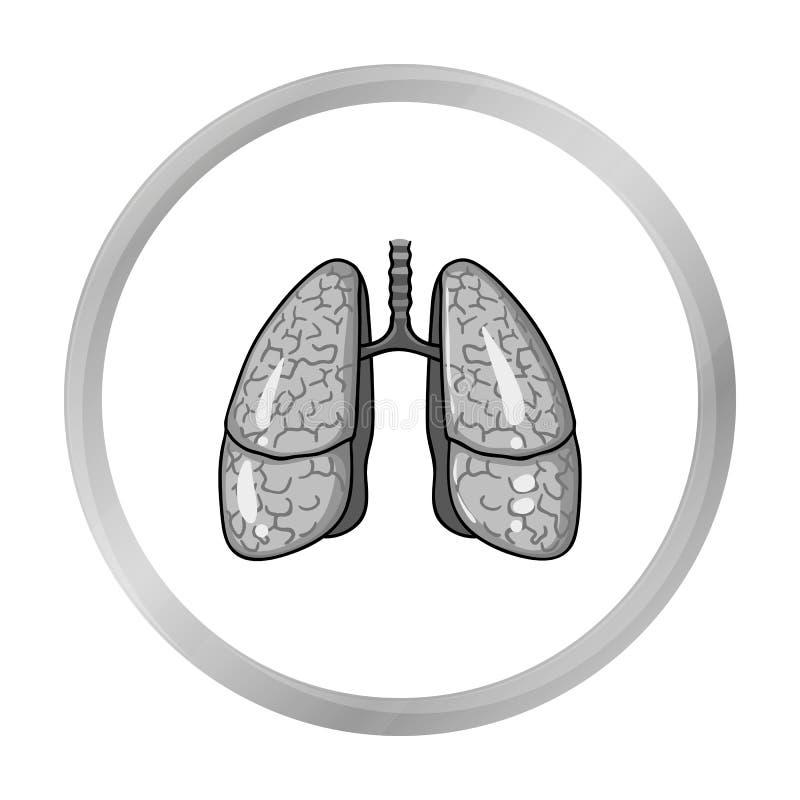 在白色背景在单色样式的人的肺象隔绝的 人体器官标志股票传染媒介例证 皇族释放例证