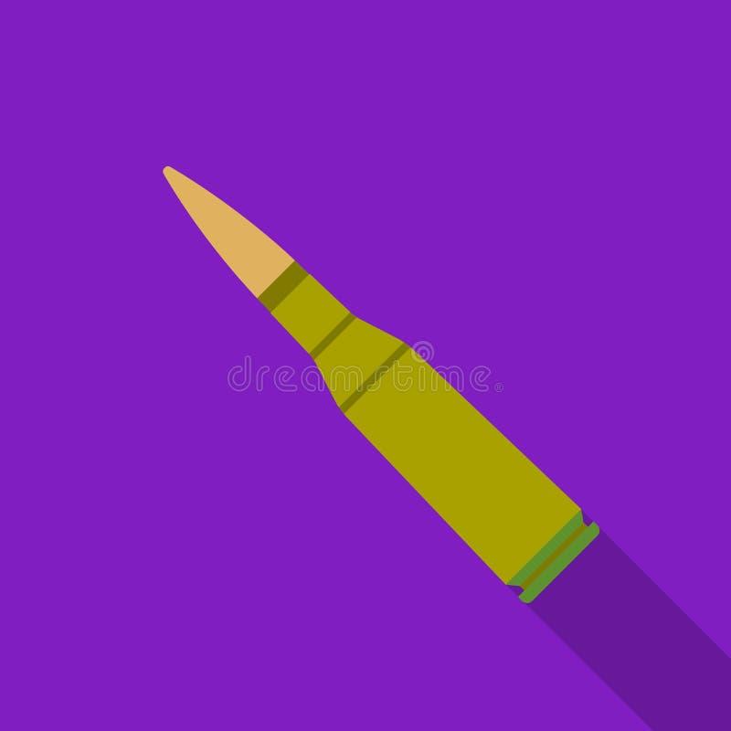 在白色背景在平的样式的军事步枪子弹象隔绝的 军事和军队标志股票传染媒介 向量例证