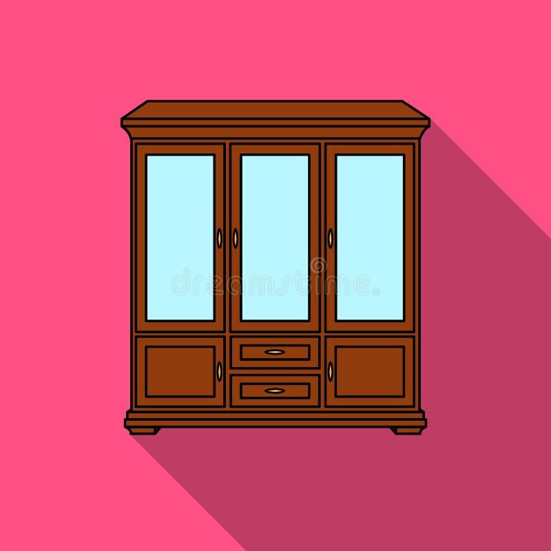 在白色背景在平的样式的古典碗柜象隔绝的 家具和家内部标志股票传染媒介 皇族释放例证