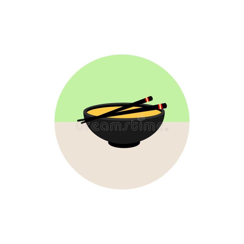在白色背景在平的样式的大酱汤象隔绝的 寿司标志股票例证 日本食物 图标 平的样式 向量例证