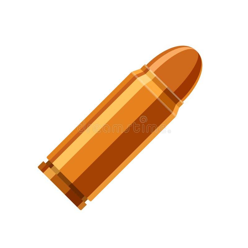 在白色背景在平的样式的子弹象隔绝的 弹药筒武器弹药动画片 向量 皇族释放例证