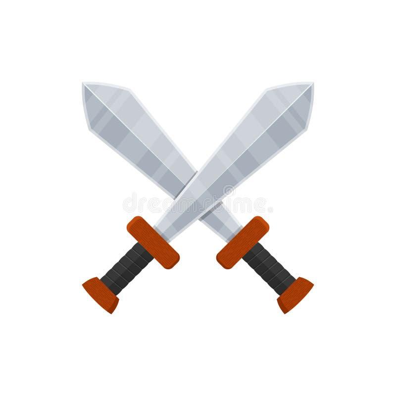 在白色背景在平的样式的横渡的剑象隔绝的 腋窝 皇族释放例证
