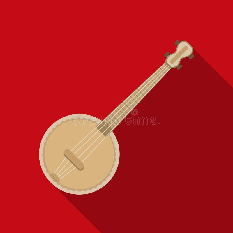 在白色背景在平的样式的班卓琵琶象隔绝的 乐器标志股票传染媒介例证 库存例证