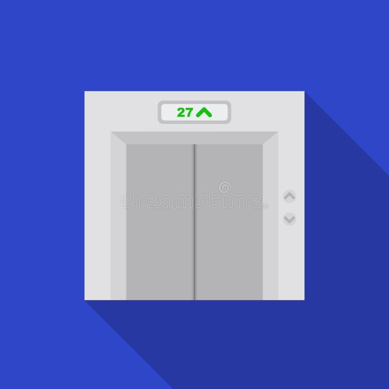 在白色背景在平的样式的电梯象隔绝的 旅馆标志股票传染媒介例证 向量例证