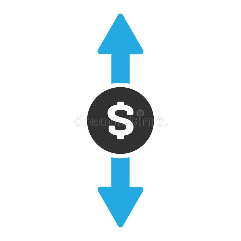 在白色背景在时髦平的样式的兑换处象隔绝的 与蓝色箭头的美元标志上上下下 向量 皇族释放例证