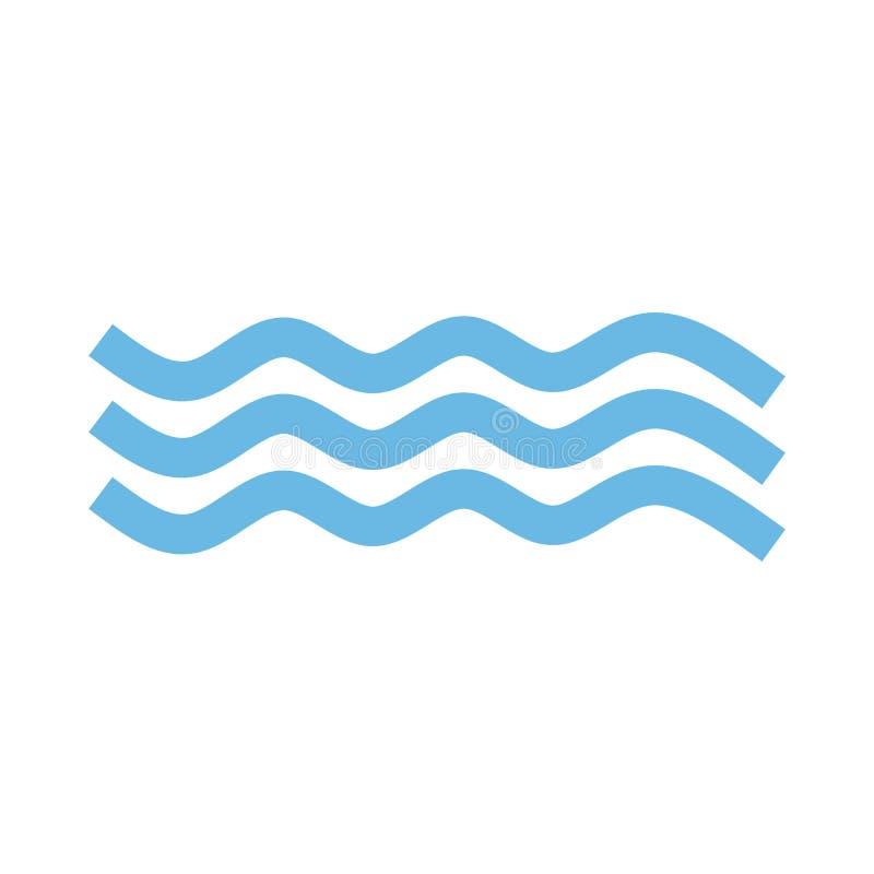 在白色背景在时髦平的样式的波浪象隔绝的 您的网站设计的水波标志,商标,应用程序,UI 传染媒介不适 向量例证