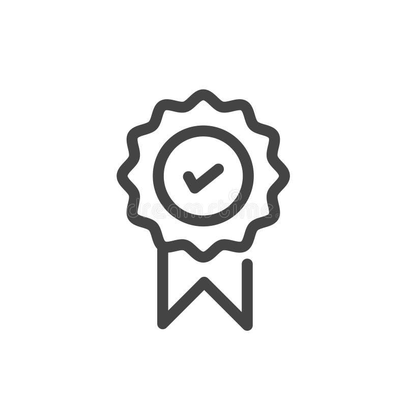 在白色背景在时髦概述样式的被批准的或被证明的奖牌象隔绝的 向量例证