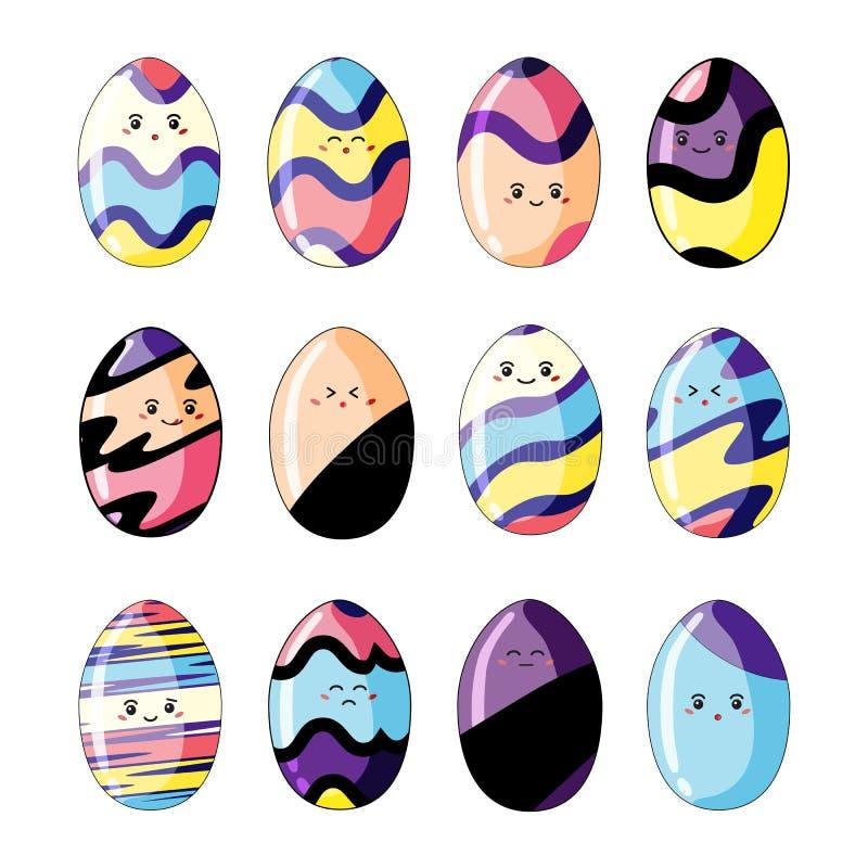 在白色背景在样式kawaii的逗人喜爱的五颜六色的复活节彩蛋隔绝的设置  皇族释放例证