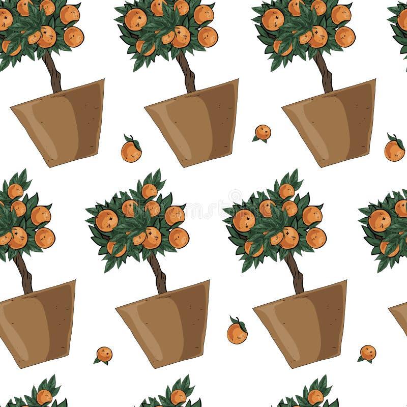 在白色背景在棕色,橙色和绿色的传染媒介乱画各种各样的橙树例证无缝的样式隔绝的 库存例证