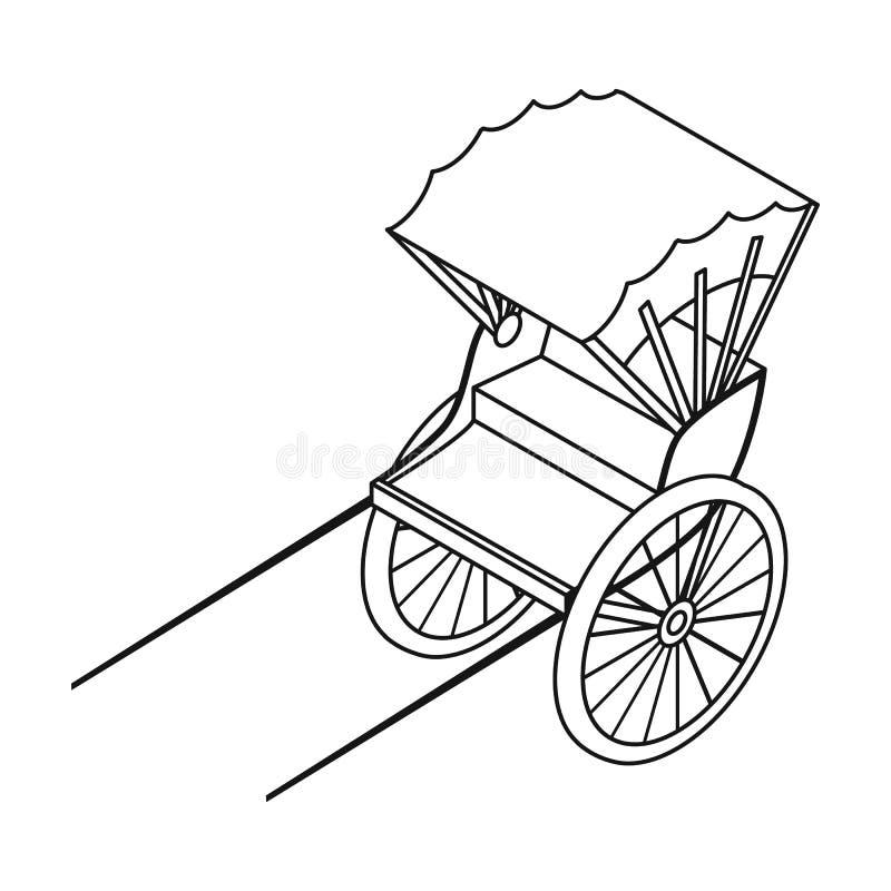 在白色背景在概述样式的人力车象隔绝的 运输标志.图片
