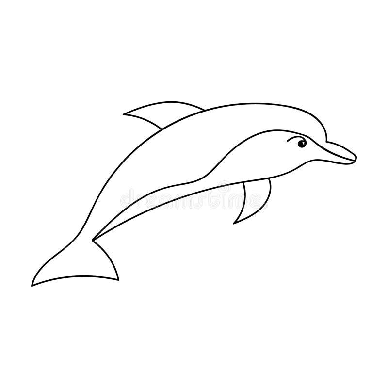 在白色背景在概述样式的海豚象隔绝的 海洋动物标志股票传染媒介例证 向量例证