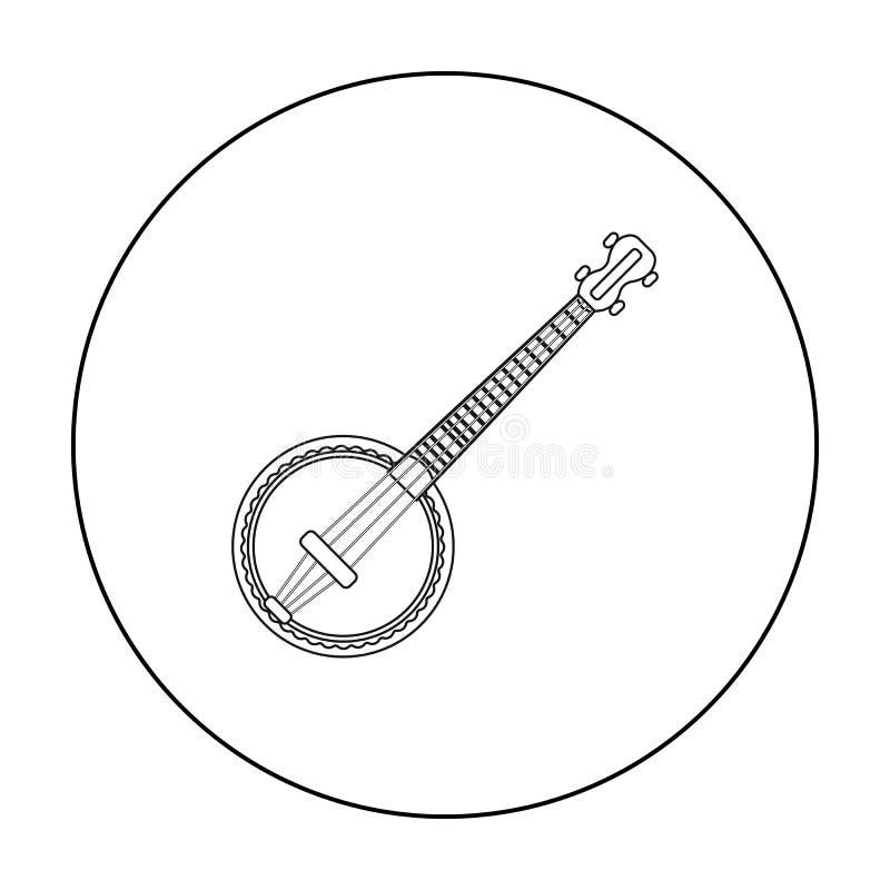 在白色背景在概述样式的班卓琵琶象隔绝的 乐器标志股票传染媒介例证 向量例证