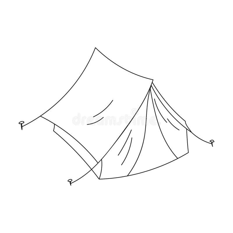 在白色背景在概述样式的黄色帐篷象隔绝的 家庭假日标志股票传染媒介例证 向量例证