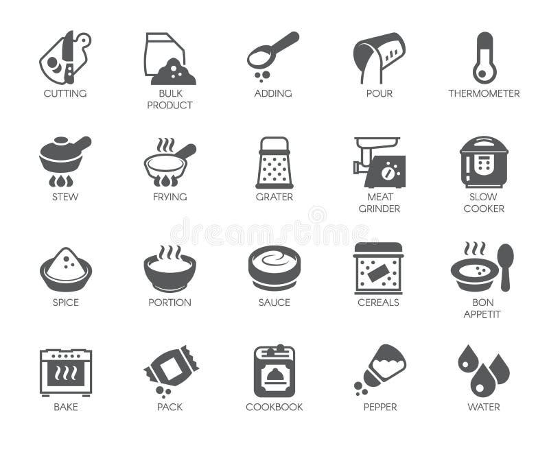 在白色背景在烹调法题材的象隔绝的套  烹调的项目平的标签 也corel凹道例证向量 皇族释放例证