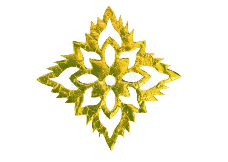 在白色背景在花形状的金纸隔绝的 库存图片