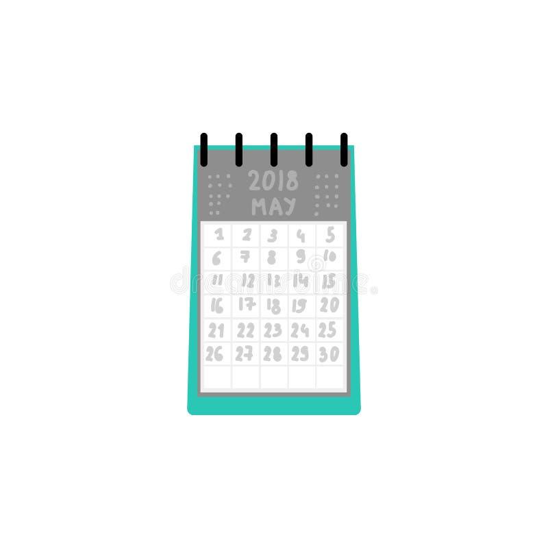 在白色背景在螺旋的月度计划者桌日历隔绝的 库存例证