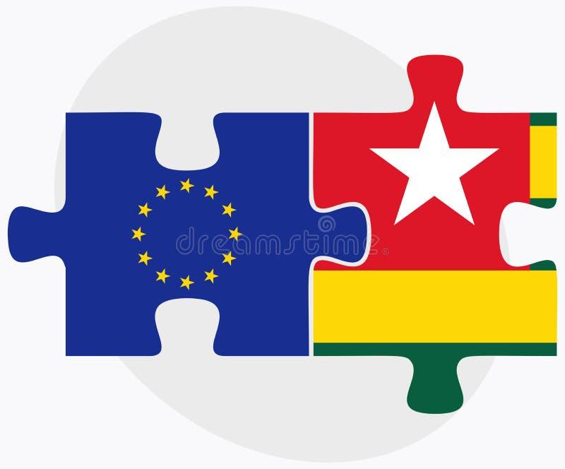 在白色背景在难题的欧盟和多哥旗子隔绝的 库存例证
