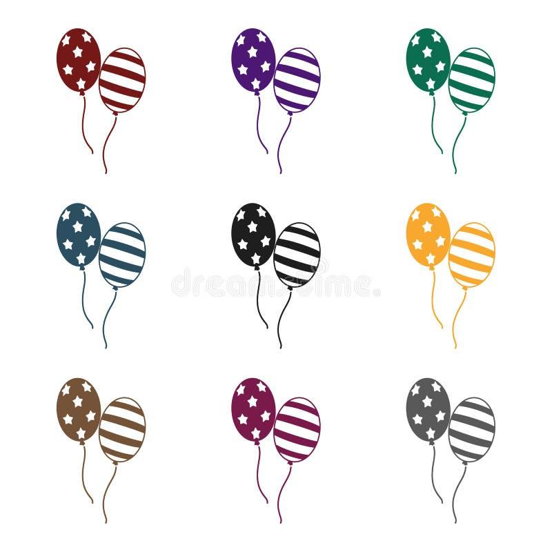 在白色背景在黑样式的爱国气球象隔绝的 爱国者天标志股票传染媒介例证 皇族释放例证