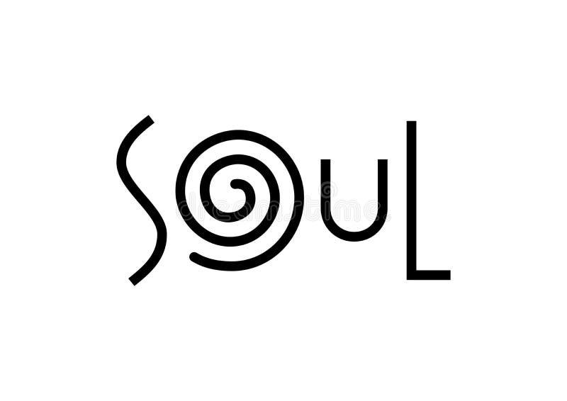 在白色背景在黑色的与漩涡隔绝的灵魂现代字法 向量例证