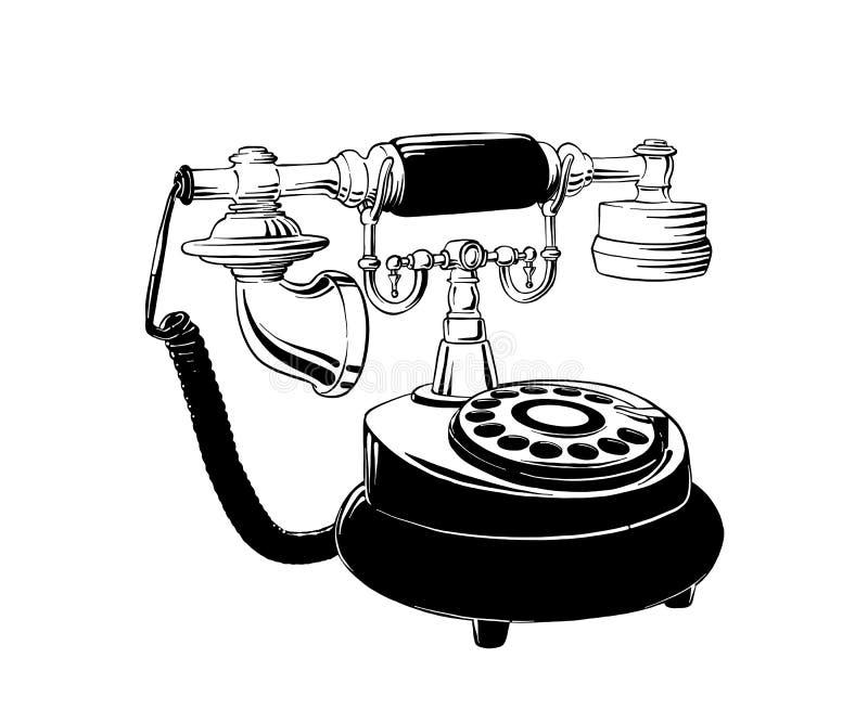 在白色背景在黑色的隔绝的减速火箭的电话手拉的剪影  详细的葡萄酒蚀刻样式图画 向量例证