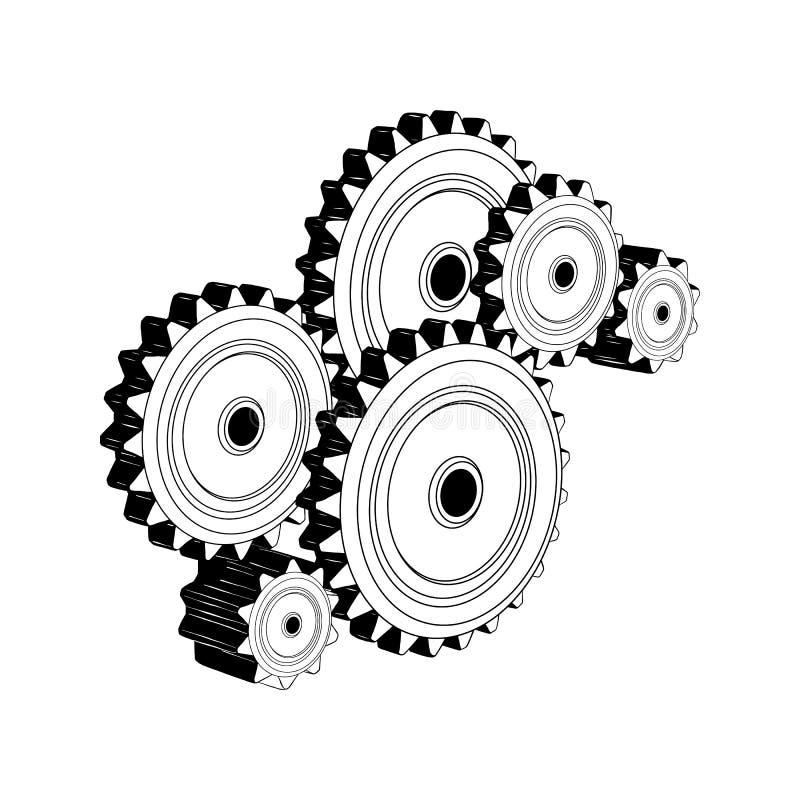 在白色背景在黑色的隔绝的机械齿轮手拉的剪影  详细的葡萄酒蚀刻样式图画 库存例证