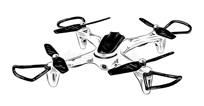 在白色背景在黑色的隔绝的直升机手拉的剪影  详细的葡萄酒蚀刻样式图画 库存例证