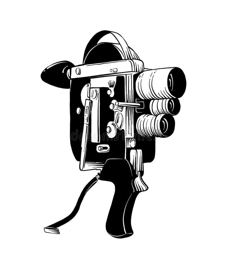 在白色背景在黑色的隔绝的老摄像头手拉的剪影  详细的葡萄酒蚀刻样式图画 向量例证