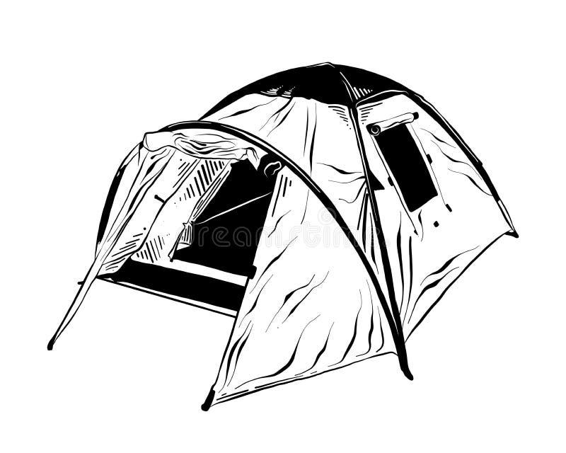 在白色背景在黑色的隔绝的野营的帐篷手拉的剪影  详细的葡萄酒蚀刻样式图画 向量例证