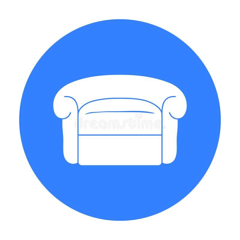 在白色背景在黑样式的扶手椅子象隔绝的 家具和家内部标志库存传染媒介例证 皇族释放例证