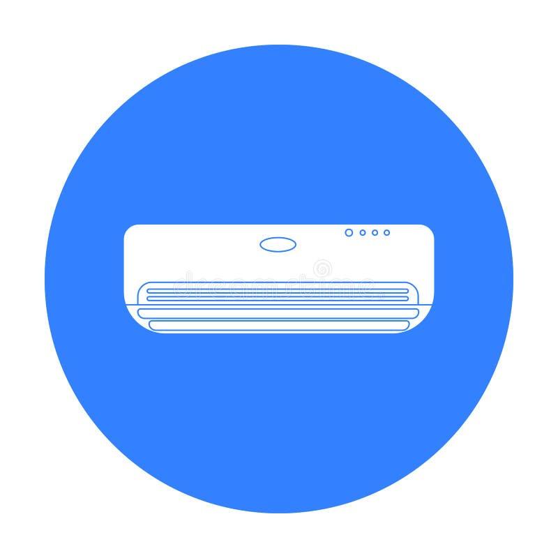 在白色背景在黑样式的空调器象隔绝的 旅馆标志股票传染媒介例证 库存例证