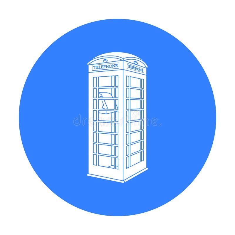 在白色背景在黑样式的红色电话客舱象隔绝的 英国国家标志股票传染媒介例证 向量例证