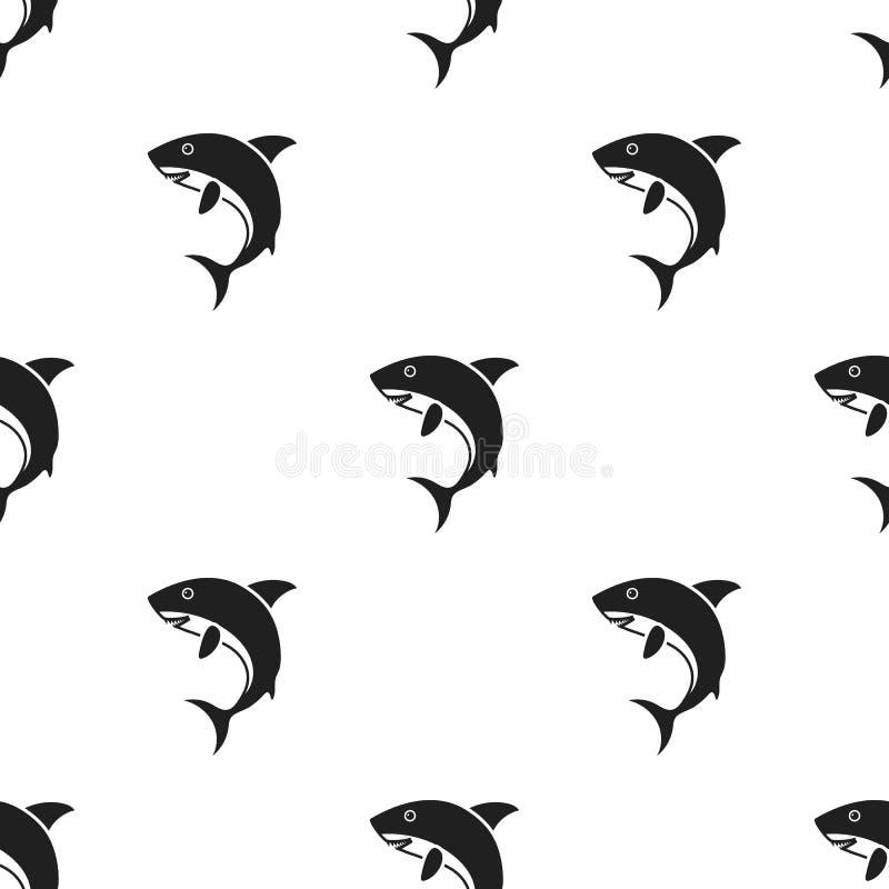 在白色背景在黑样式的鲨鱼象隔绝的 动物样式股票传染媒介例证 库存例证