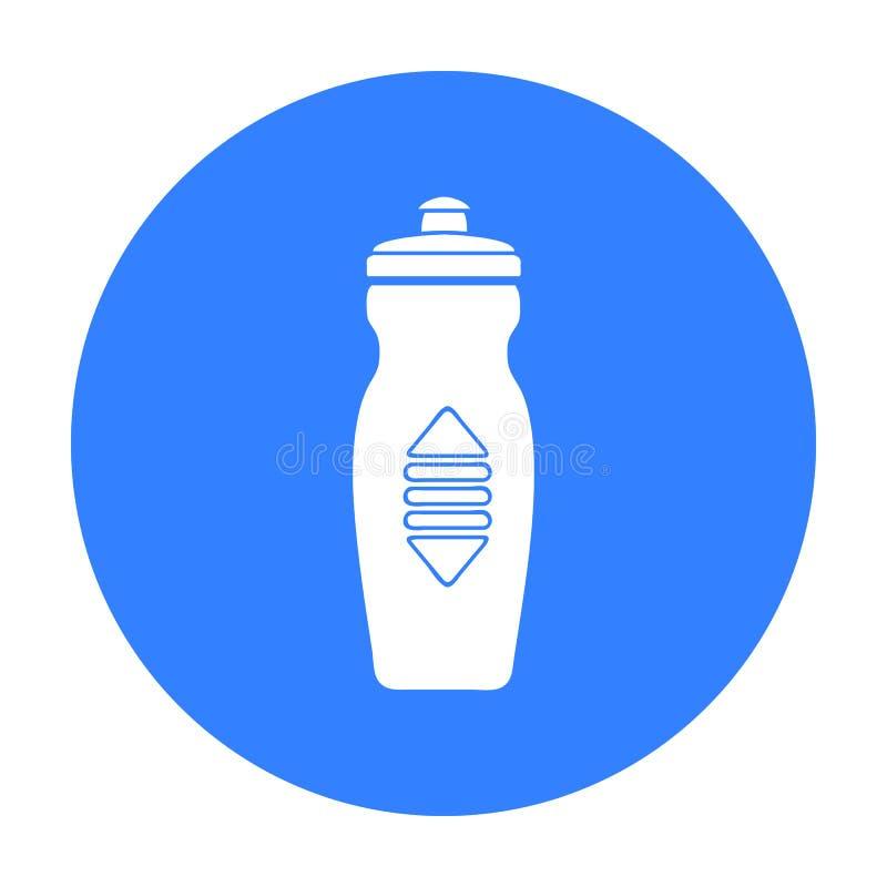 在白色背景在黑样式的水瓶象隔绝的 体育和健身标志股票传染媒介例证 库存例证