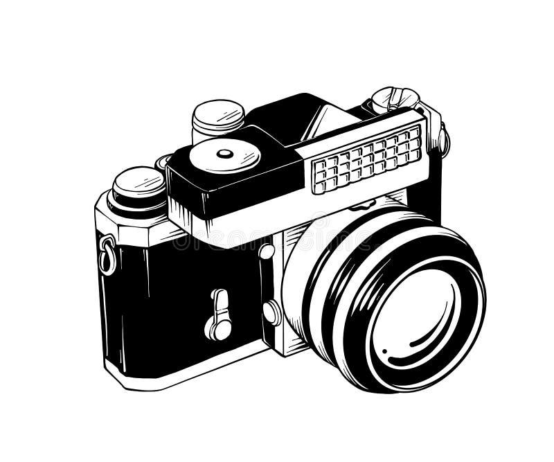 在白色背景在isometry的隔绝的减速火箭的照相机手拉的剪影  详细的葡萄酒蚀刻样式图画 皇族释放例证