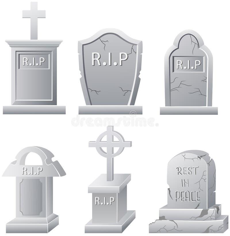 在白色背景墓碑隔绝的套 库存例证