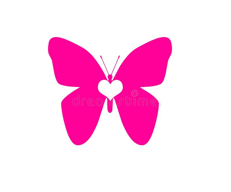 在白色背景对象元素隔绝的蝴蝶桃红色白色心脏 皇族释放例证