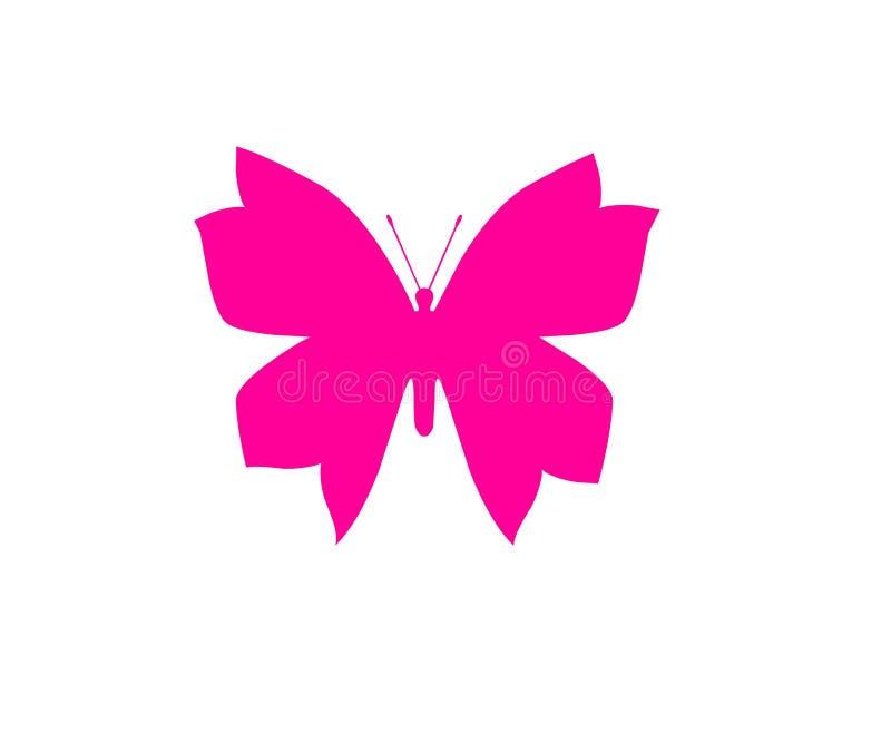 在白色背景对象元素隔绝的蝴蝶桃红色 皇族释放例证