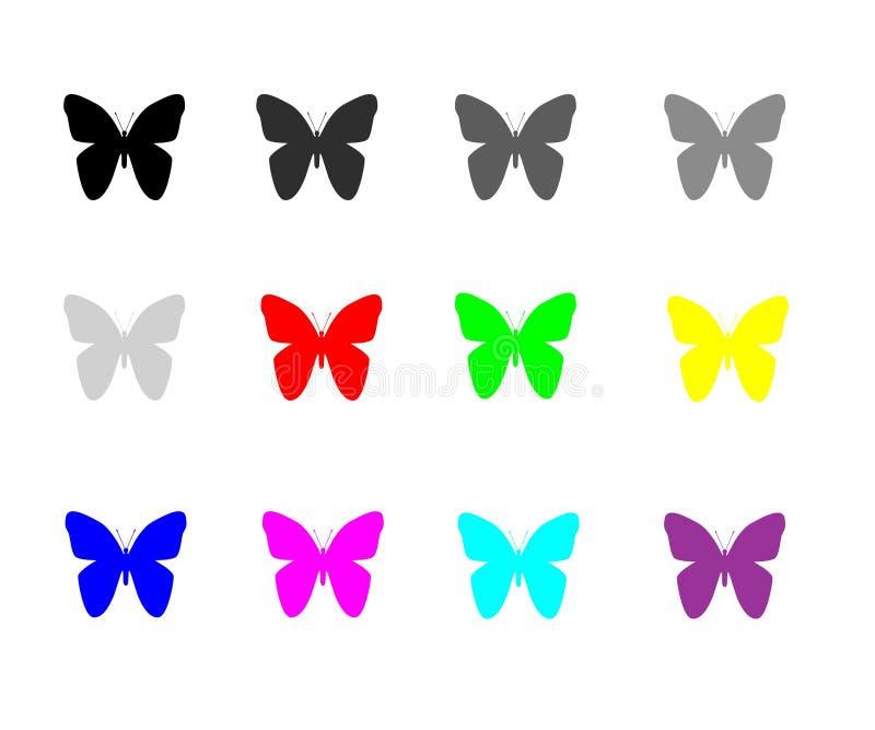 在白色背景对象元素隔绝的蝴蝶红心 库存例证