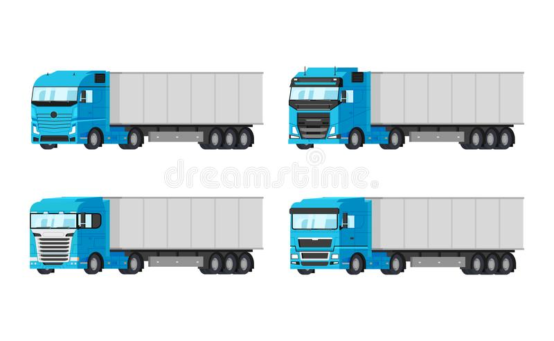 在白色背景导航平的设计隔绝的交付物品的四辆不同蓝色卡车 交付,货物 皇族释放例证
