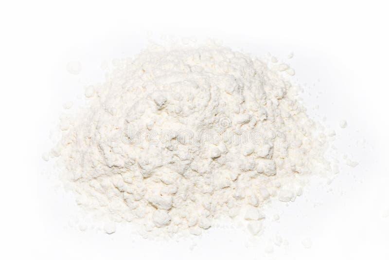 在白色背景小麦面粉隔绝的堆 库存图片