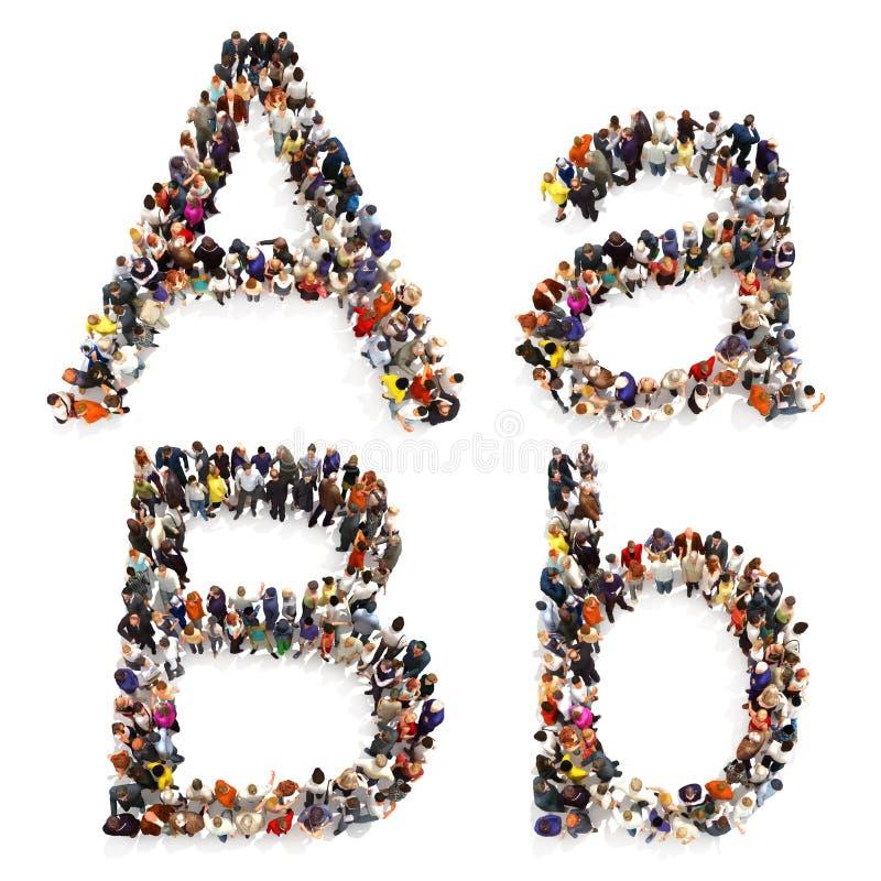 在白色背景形成在两的信件A和B大小写隔绝的一群大人的汇集 向量例证