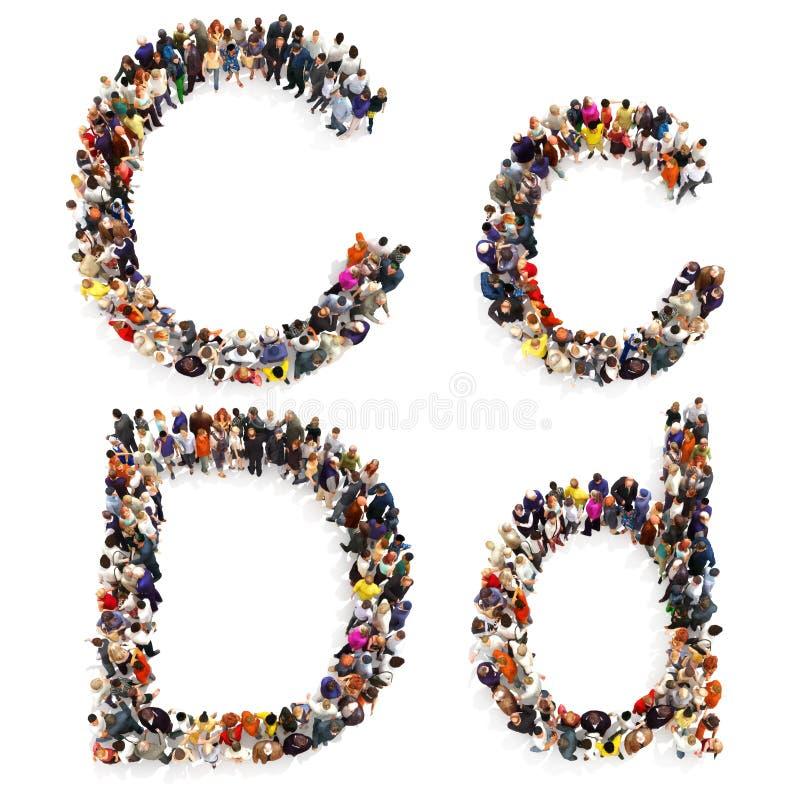 在白色背景形成在两的信件C和D大小写隔绝的一群大人的汇集 皇族释放例证