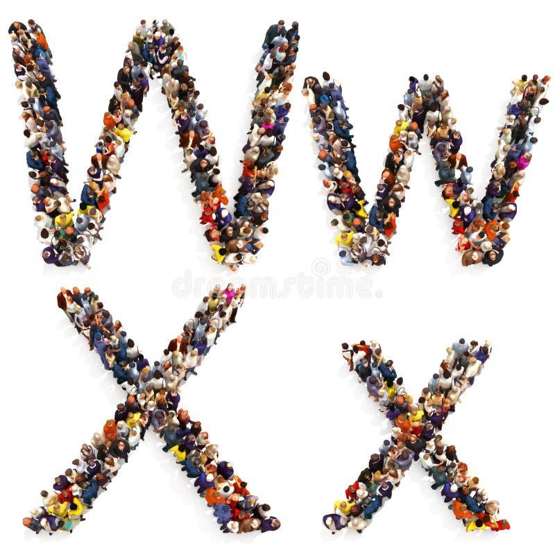 在白色背景形成在两的信件W和X大小写隔绝的一群大人的汇集 皇族释放例证