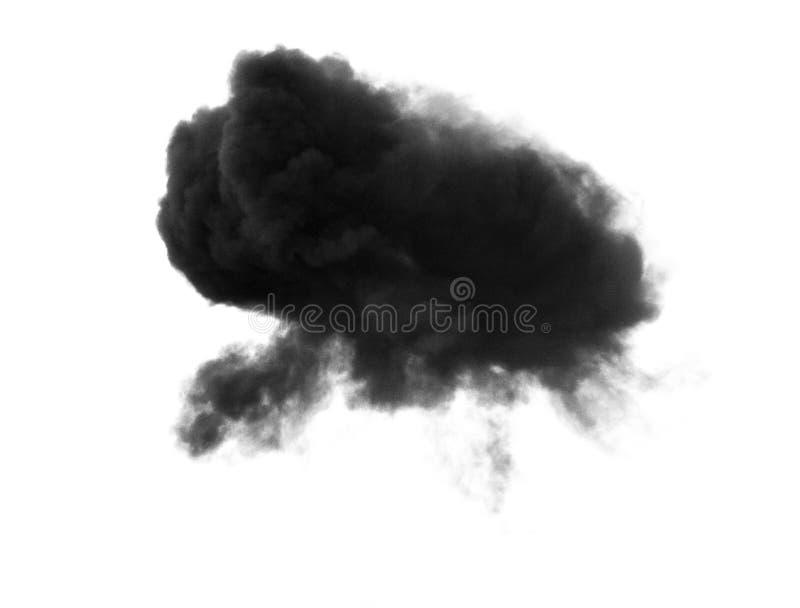 在白色背景或云彩隔绝的黑烟 库存照片