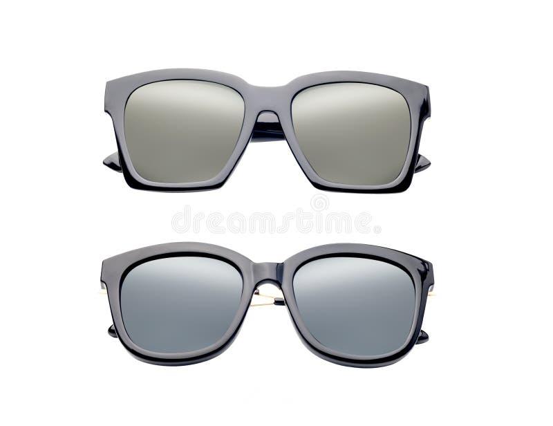 在白色背景或人的现代时尚太阳镜隔绝的妇女,老玻璃 免版税库存照片