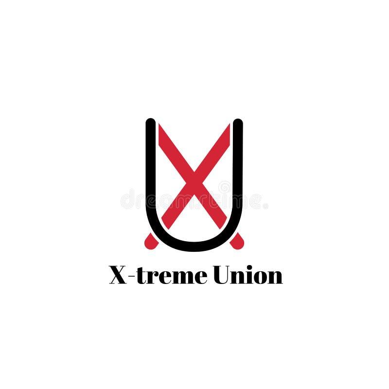 在白色背景或商标隔绝的时髦的组合图案 黑色红色 信件X和U的图片 皇族释放例证