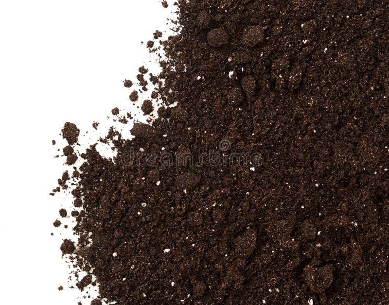 在白色背景或土隔绝的土壤 库存照片