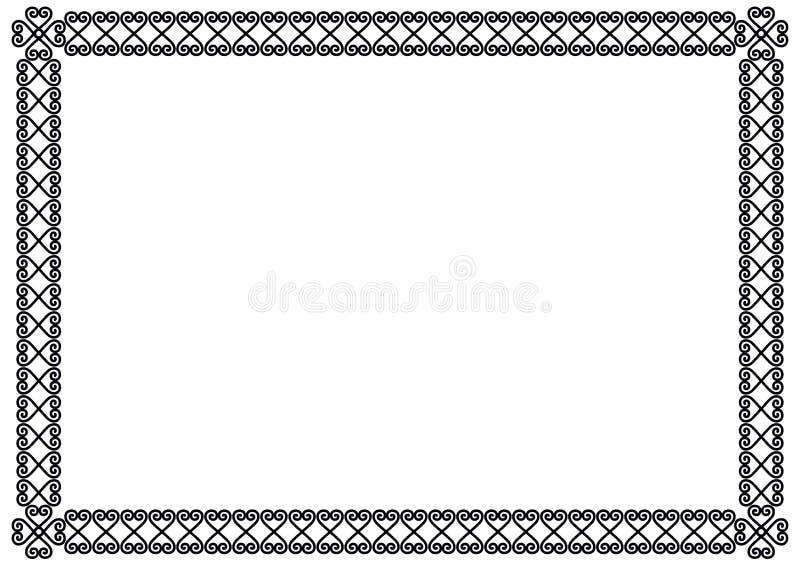 在白色背景或框架在黑色隔绝的装饰装饰品边界 库存例证