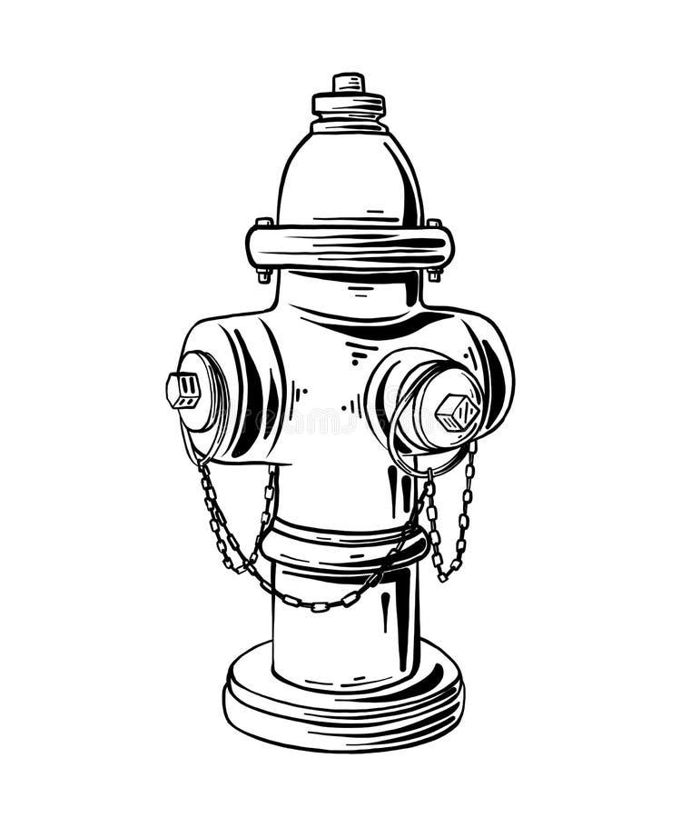 在白色背景或消防栓隔绝的手拉的剪影消防栓 详细的葡萄酒蚀刻样式图画 向量例证