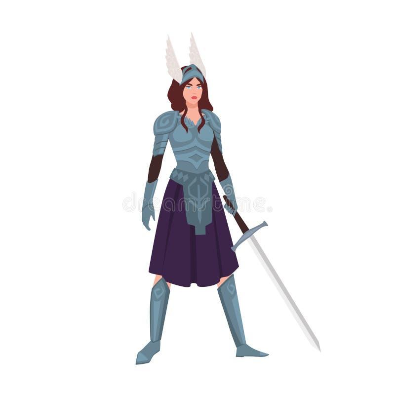 在白色背景或神话女性战士藏品剑隔绝的华尔基利暗杀行动 华美的妇女佩带的装甲,飞过 向量例证
